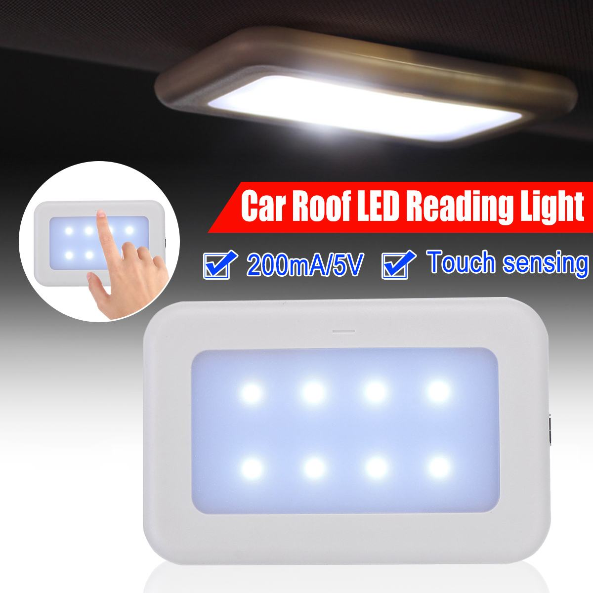Universal-USB Rechargeable LED Reading Light Portable Car Interior Dome Roof Ceiling Lamp Magnet Adsorption LED Night Light