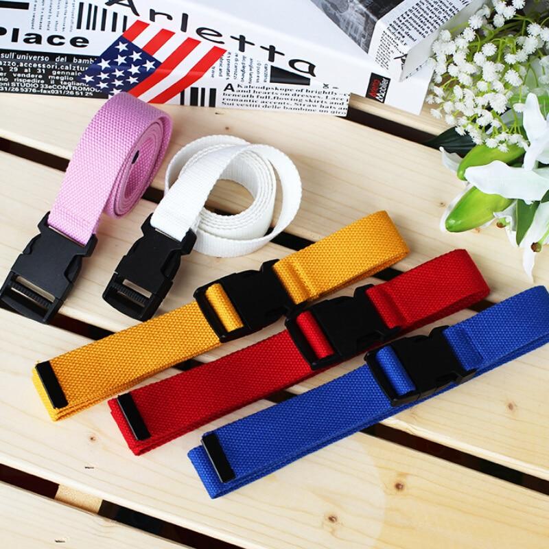 Adjustable Canvas Belt For Women Casual Female Waist Belts With Plastic Buckle Harajuku Solid Color Long Belts Ceinture Femme