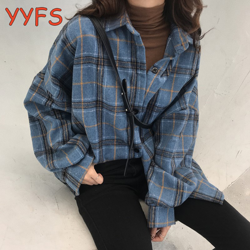 Plaid Oversized Blouses Woolen Shirts For Women Spring Autumn Casual Long Sleeve Elegant Shirt Female Winter Cotton Lady Tops