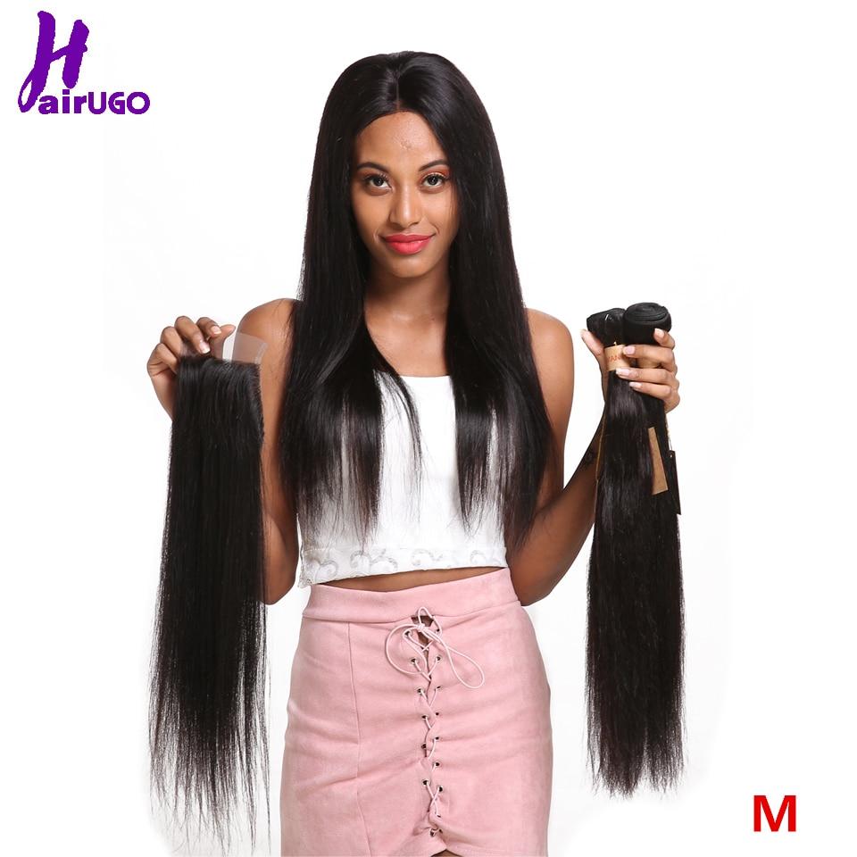 HairUGo Malaysian Hair Bundles with Closure Straight Hair Weave Middle Ratio #1B Human Hair Bundles with Closure Non Remy Hair