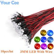 10PCS 3mm F3 LED 20 centímetros Pré-wired Branco Vermelho Verde Azul Amarelo UV Diodo RGB Lâmpada diodos Emissores de Luz da decoração DIY Pré-soldada
