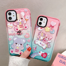 Korean Cartoon Cute Bear Colorful Bumper Phone Case for