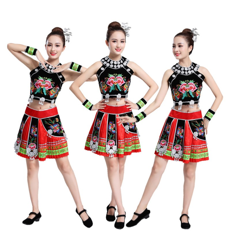 Women's Hmong Miao Clothing Traditional Asian Dress Thailand Style Dancing Costume Ethnic Festival Stage Wear