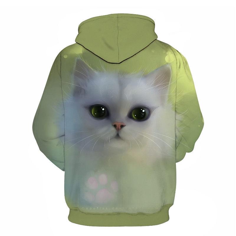 Women's Two Cat Sweatshirts Long Sleeve 3D Hoodies Sweatshirt Pullover Tops Blouse Pullover Hoodie Poleron mujer Confidante Tops 88