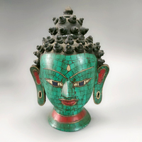 Elaborate Chinese ancient cloisonne copper Buddha Head Statue