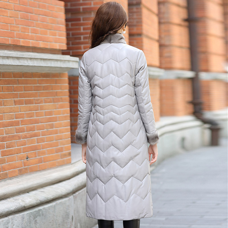 2020 New Winter Ladies Long Jacket Fashion Genuine Leather Thick Warm Down Jacket Female Long Sleeve Mink Fur Collar Coats M-3XL