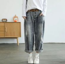 Origional Spring Literature And Art Retro Faded with Holes Harem Jeans Loose-Fit WOMEN'S Pants Dad Pants Belt Included 8301