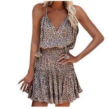 2021 Short Print Leapord Dress for Women Heart Y2K Summer Sexy V Neck Sleeveless Strap Beach Mini Dresses Party