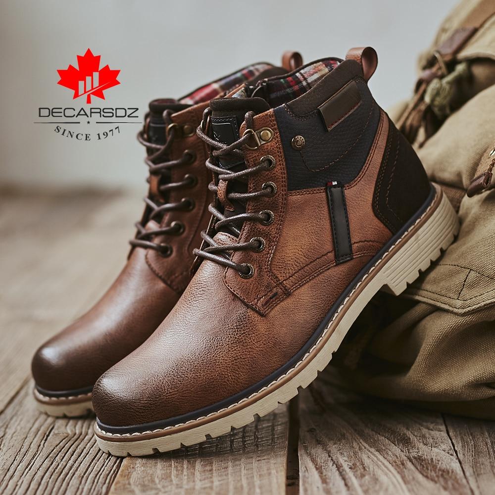 DECARSDZ Men Boots Autumn Comfy Durable outsole Lace-up Fashion Shoes Men 2020 Leather Casual Boots Men Brand design Men's Boots 1