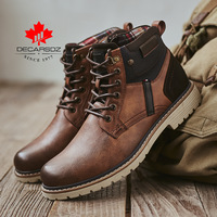 DECARSDZ Men Boots Autumn Comfy Durable outsole Lace-up Fashion Shoes Men 2020 Leather Casual Boots Men Brand design Men's Boots 1