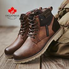 DECARSDZ Männer Stiefel Herbst Comfy Langlebig sohle Lace-up Mode Schuhe Männer 2020 Leder Casual Stiefel Männer Marke design männer Stiefel