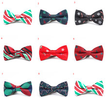 Red Children's Bow Tie Christmas Bow Tie Jacquard Creative Children's Cute Bow Tie Striped Pine Snow Funny Party Brand Bow Tie(China)