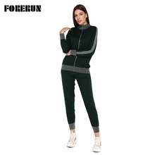 FORERUN Knitted Tracksuit Women Sweater Suit Top and Pants Winter Two Piece Set Casual Outfits Ropa Deportiva Mujer
