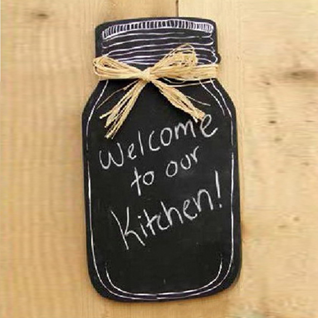Milk Bottle Shape Hanging Message Board Wooden Blackboard For Home Kitchen