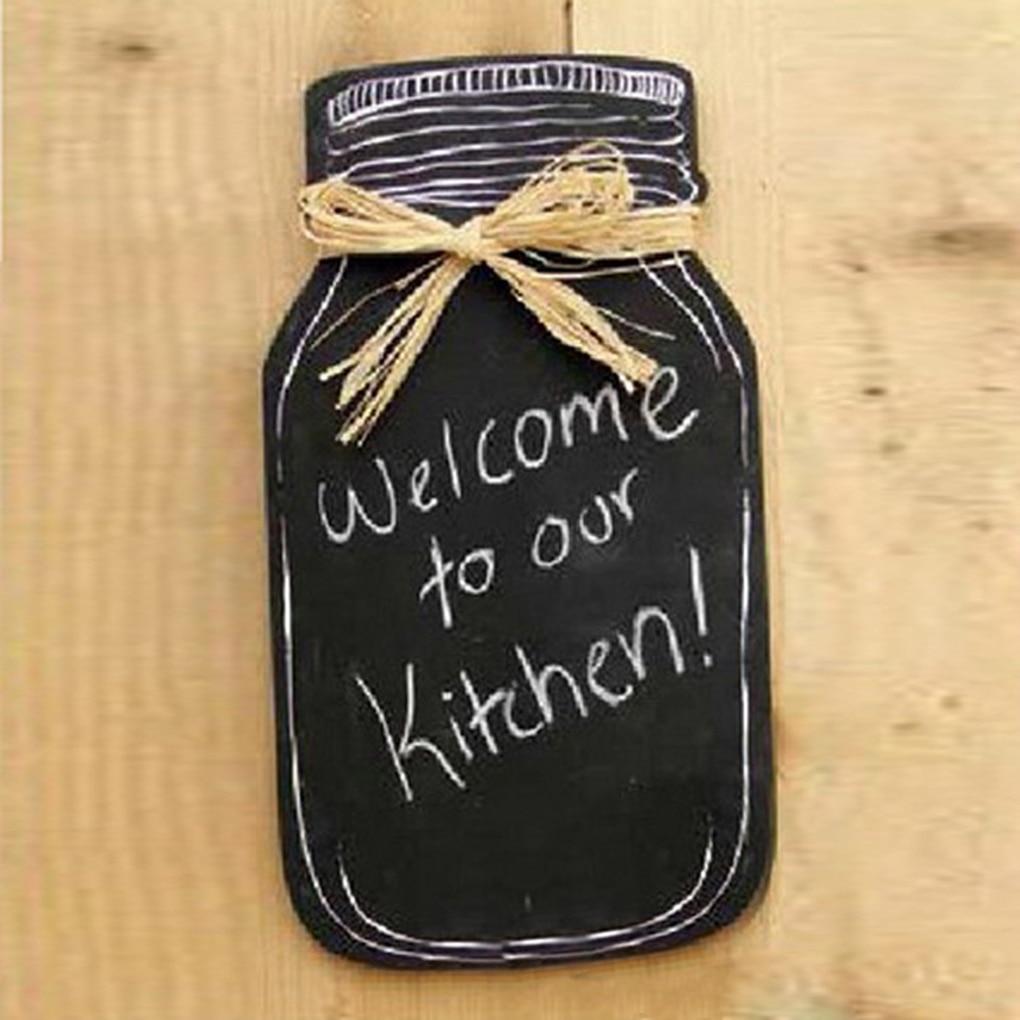 Milk Bottle Shape Hanging Message Board Wooden Blackboard For Home Kitchen