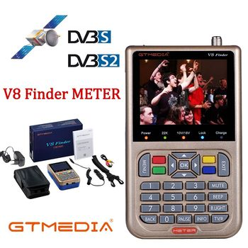 GTMEDIAV8 Finder Meter DVB S2 Satellite Finder Receptor Tuner Sat Finder with 3.5 LCD Dish MPEG-4 SatFinder DVB-S2X with Battery