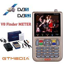 Gtmediav8 finder medidor dvb s2 satélite localizador receptor sintonizador sat finder com 3.5 lcd prato MPEG 4 satfinder DVB S2X com bateria