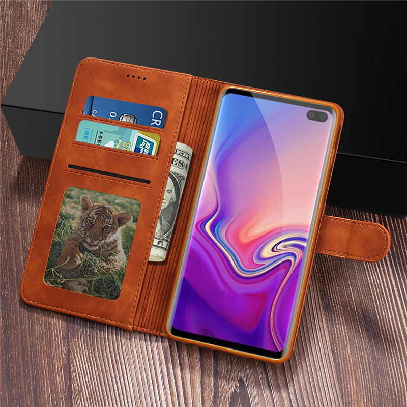 For Samsung Galaxy S10 Case Leather Vintage Phone Cases On Samsung Galaxy S10 Plus Case Flip Wallet Cover For Samsung S10E Coque in Flip Cases from Cellphones Telecommunications