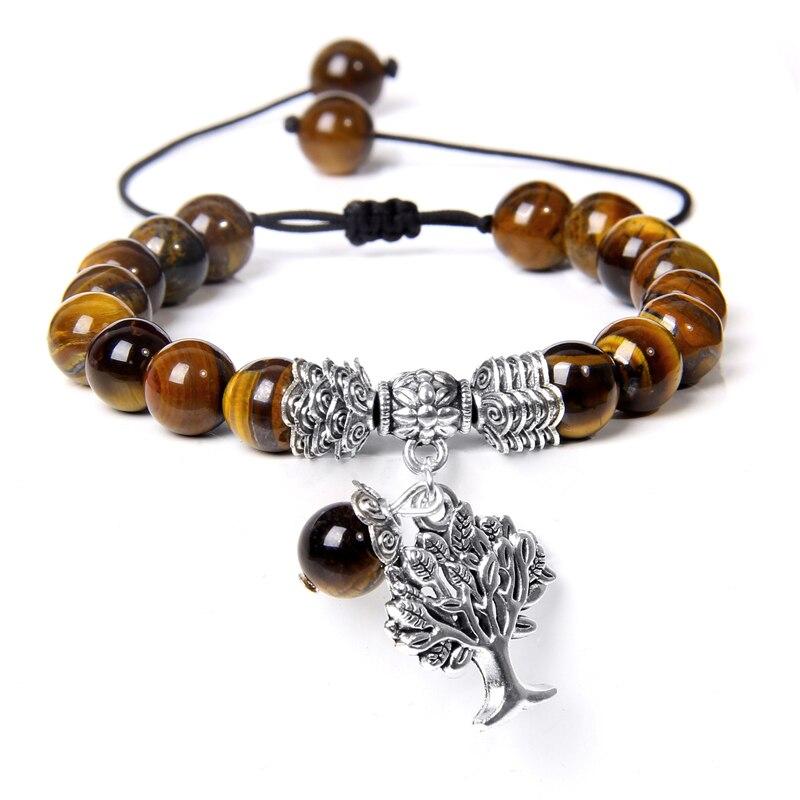 Bracelets tissés à la main pour hommes et femmes, breloque arbre de vie, œil de tigre, ajustable, en Pierre naturelle