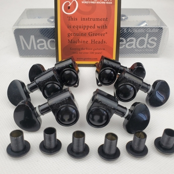 100% Original Grover Guitar Machine Heads Tuners 1Set 3R-3L Black Tuning Pegs ( With packaging ) image