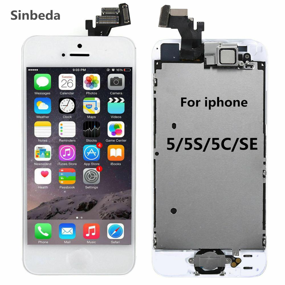 ЖК-экран AAA для iPhone 5 5s 5c, ЖК-сенсорный экран с дигитайзером в сборе + Кнопка возврата + фронтальная камера + динамик, полный экран