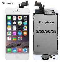 AAA LCD pantalla para iPhone 5 y 5s 5c LCD MONTAJE DE digitalizador con pantalla táctil + botón de inicio + cámara frontal + oído altavoz Pantalla Completa