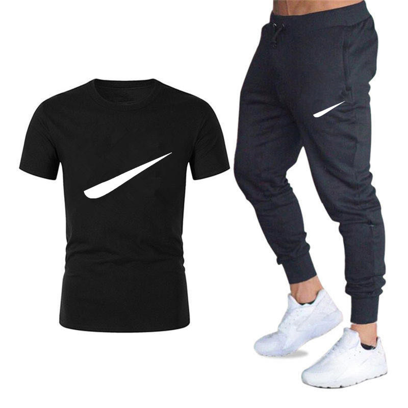 Summer Sports Suit Men's Fitness Short Sleeve T-shirt Men's Short Sleeve + Trousers Suit Running Loose Casual Sportswear Large