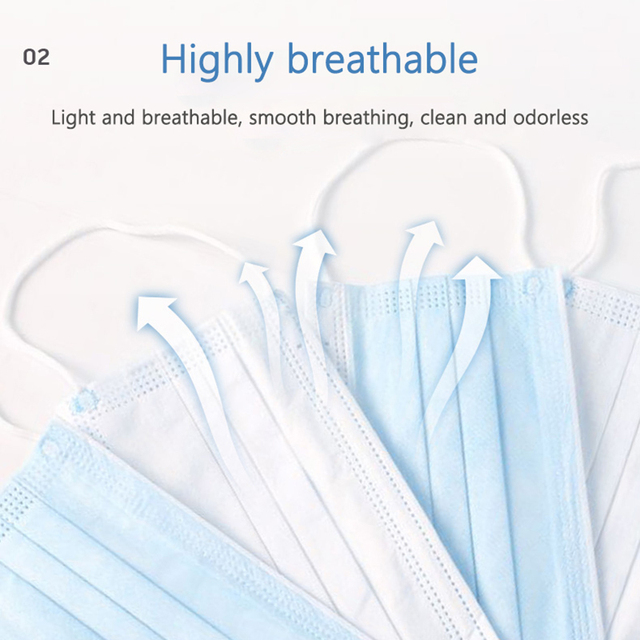 10/20/30/50 dust-proof disposable masks with elastic earrings 3 layers of breathable can block dust air pollution anti flu 5
