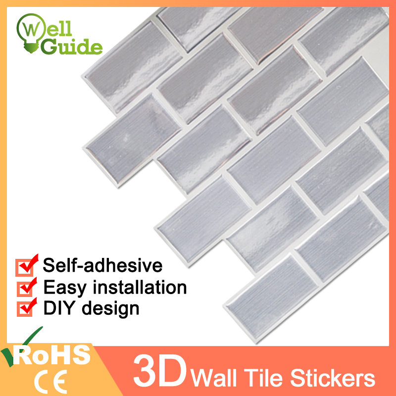 3D Wall Sticker Mosaic Brick Self Adhesive Wall paper for Kitchen Bathroom Home DIY Wall Stickers Wall Decal Sticker Waterproof in Wall Stickers from Home Garden