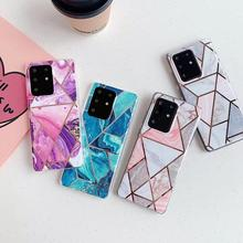 Marble Pattern Design Phone Case For Samsung Galaxy S20 Ultra S20 S10 S8 S9 Plus Stitching pattern Soft Case For Galaxy A40 A50