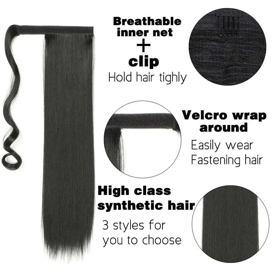 Alileader 130 Gr/paket Lange Wellenförmige Pferdeschwanz Haarteil Wrap Auf Clip Haar Verlängerung Hohe Temperatur Synthetische Faser Pferdeschwanz Gefälschte Haar