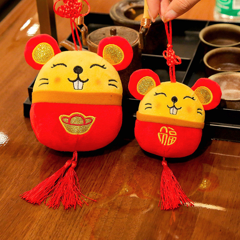 2020 Year Of The Rat Mascot Plush Toy Red Chinese Knot Mouse Pendant High Quality Hanging Deacoration New Year Gift For Kids
