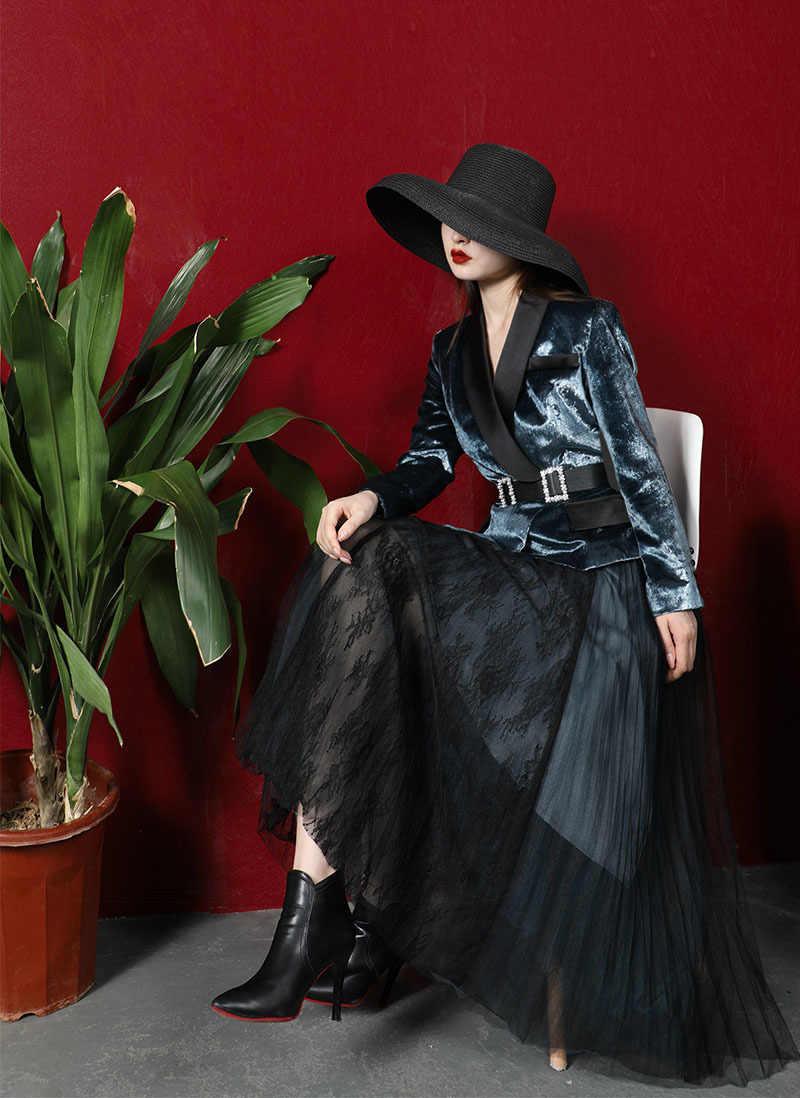 Iki parçalı set 2020 sonbahar kış Vintage 2 parça set kadın altın kadife takım elbise + pilili örgü etek Streetwear ofis bayan blazer