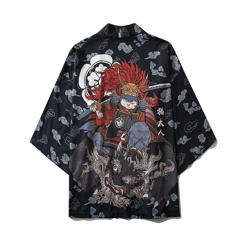 Кимоно в японском стиле с изображением кота самурая, уличная одежда для мужчин и женщин, кардиган в японском стиле Харадзюку, халат в стиле а...