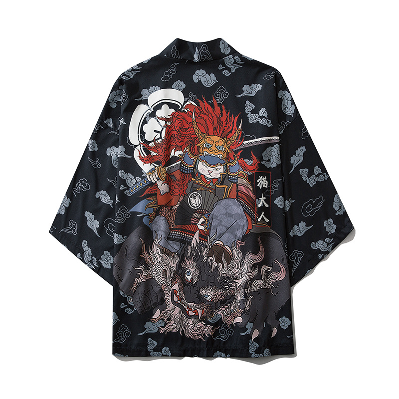 Japanese Style Cat Samurai Kimono Streetwear Men Women Cardigan Japan Harajuku Anime Robe Anime Clothes 2020 Summer