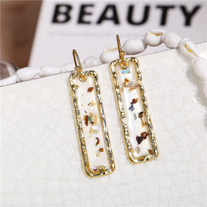 IF ME Fashion Korean Gold Acrylic Shell Drop Earrings for Women Vintage Geometric Sequin Bar Dangle Earrings 2019 NEW Jewelry