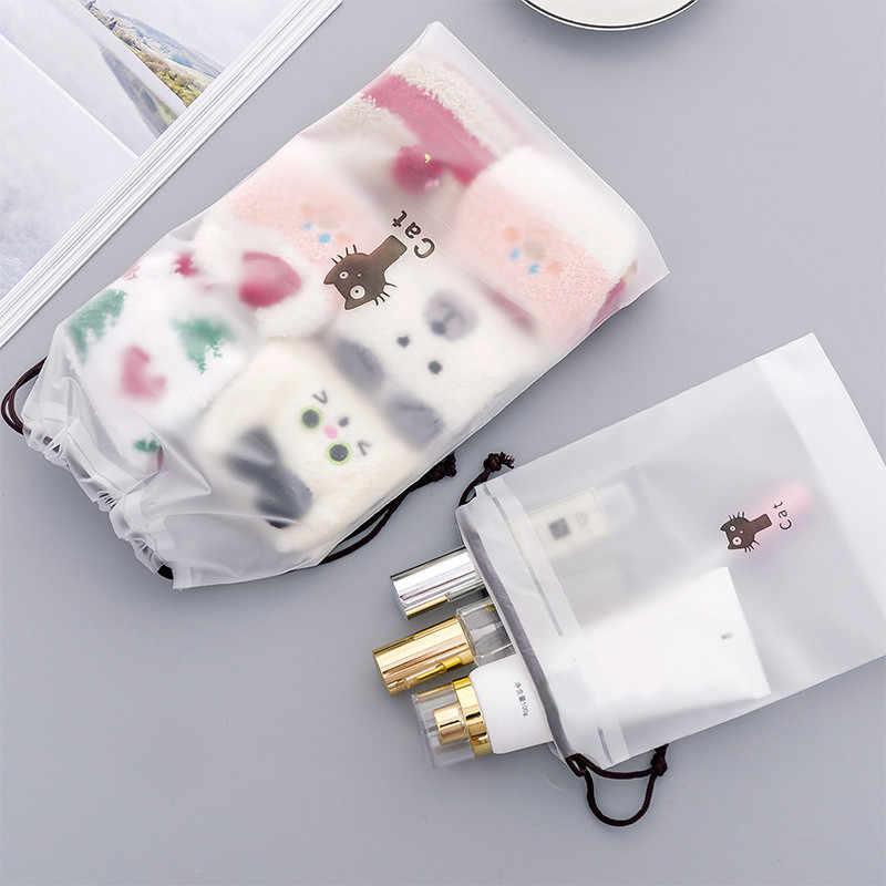 3 uds gatos animales bolsa de cosméticos viaje estuche de maquillaje mujeres cuerda de maquillaje organizador para ducha bolsa de almacenamiento neceser Kit de lavado Beaut