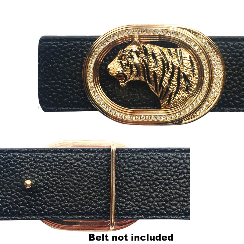 Animal Icon Tiger Belt Buckle Metal Accessories For Men's Belts  Automatic Belt Buckle Solid Brass Hebillas Para Cinturon Hombre