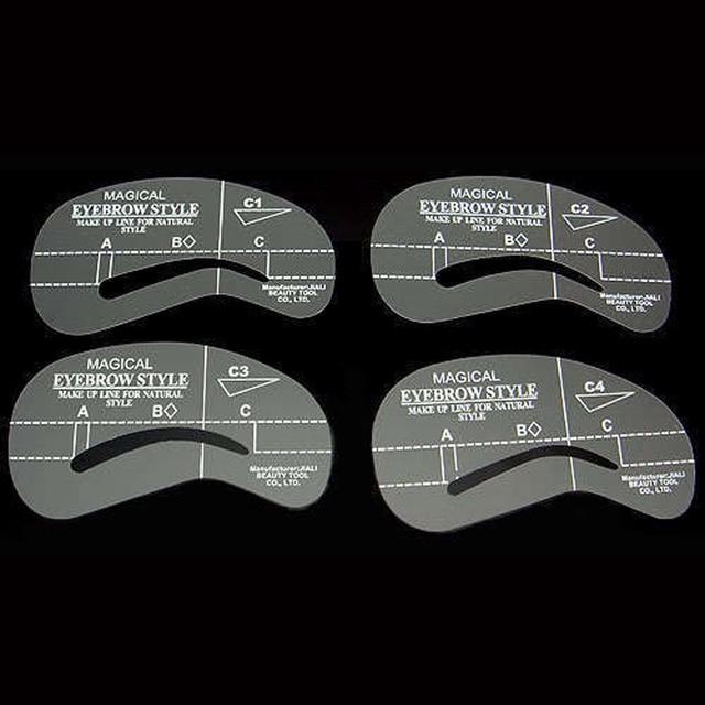 4Pcs Eyebrow Shaping Stencil Set Grooming Tools Drawing Card for Dashing Eyebrows C1-C4 SK88 5