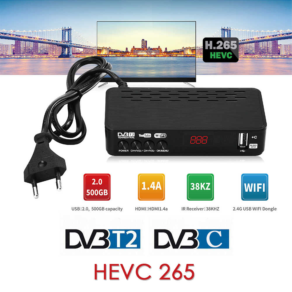 DVB-T2 Hevc 265 Tv Ontvanger DVB-C Digitale Tv Receptor Tuner Dvb T2 Fta Full Hd H.265 DVBT2 Set-Top doos Youtube Iptv Megogo AC3