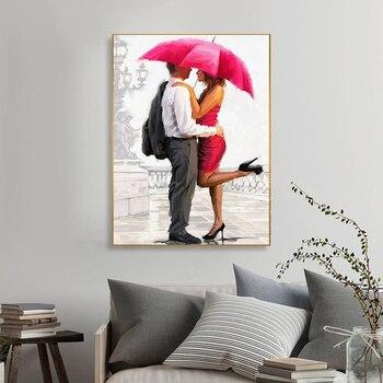 Couple Rain Umbrella Oil Paintings Printed on Canvas 5