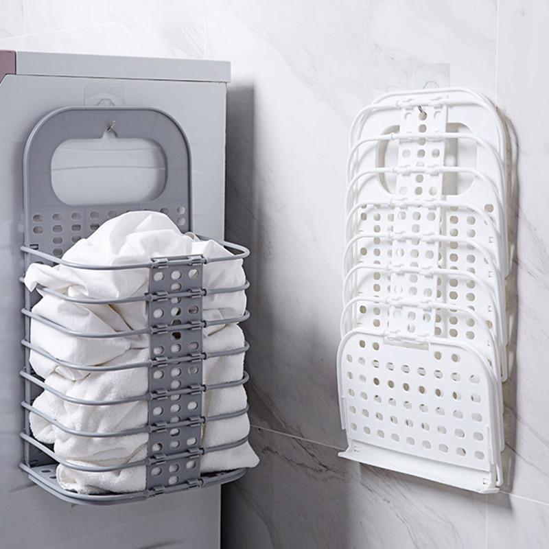 Dirty Laundry Basket Bathroom Folding Laundry Hamper Plastic Wall-Mounted Dirty Clothes Holder Organizer Storage Basket
