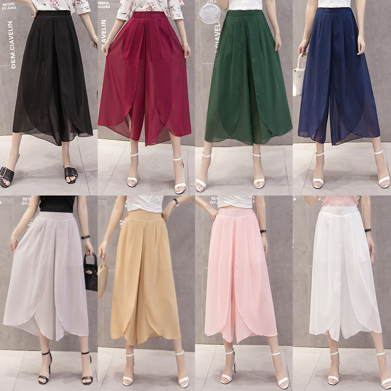 8-Color 7 Yards Solid Color Chiffon Loose Pants Women's 2019 Summer New Style Loose Casual Pants High-waisted Capri Pants Chiffo