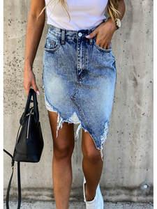 Jeans Skirt Pencil Tassel Ripped Cool Vintage High-Waist Casual Women Summer Pockets