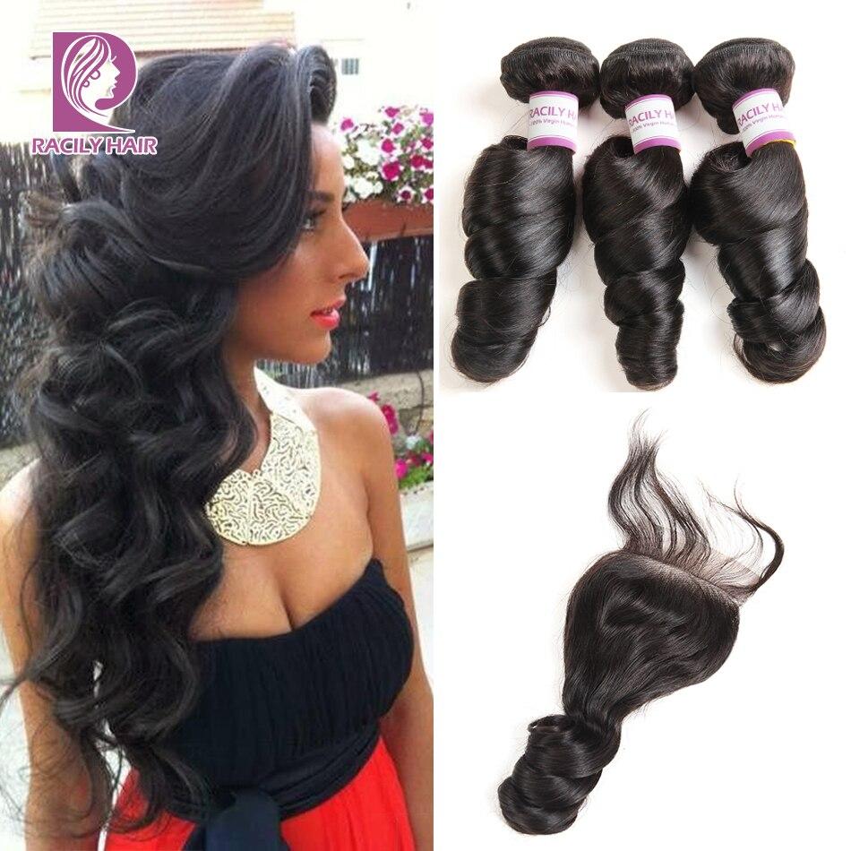 Racily Hair Loose Wave Bundles With Closure Brazilian Hair Weave Bundles With Closure Remy Human Hair 3/4 Bundles With Closure