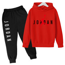 2021 Spring New Girl Letter Long-sleeved Hooded Sweatshirt + Trousers Clothes Children's Cotton Sportswear Autumn Jacket Suit