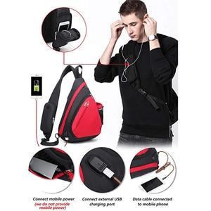 "Image 4 - Male Women Shoulder Bags USB Charge Crossbody Bag Anti theft Chest Bag large capacity 10.5"" Ipad mobile phone Short Trip bag"