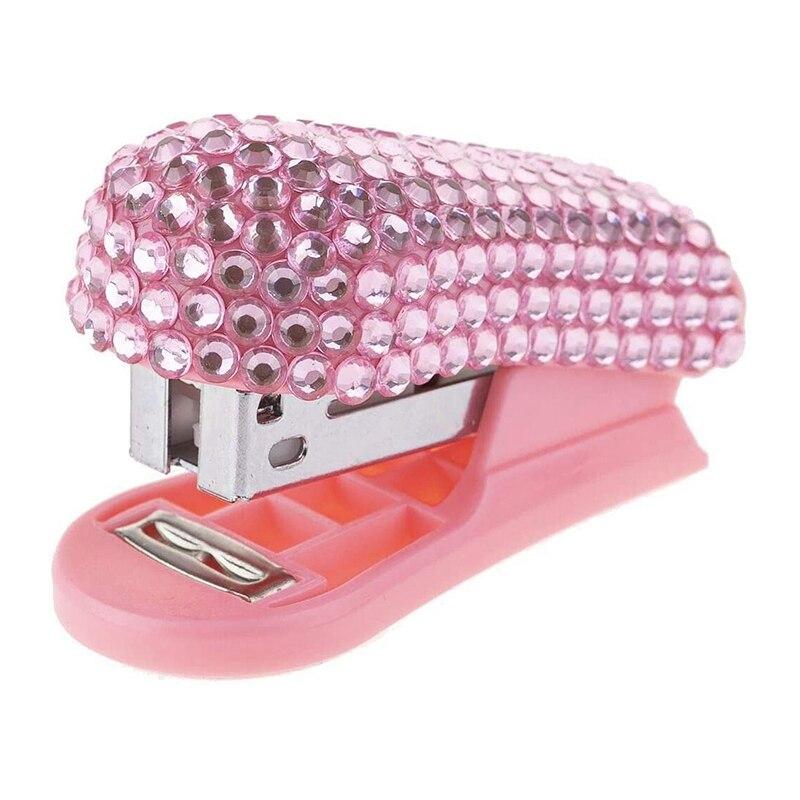 Mini Stapler Diamond-Encrusted Mini Stapler Sticker Small Stapler Pink Gift Stapler Office Stationery Student Supplies