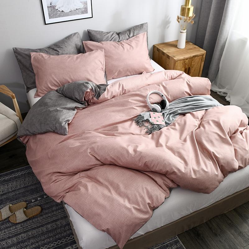 Quality Bedding Set Linens Duvet Cover 2/3 Pcs King Queen Size Solid Color Bedclothes Comforter Quilt Cover Pillowcase Bed Sets