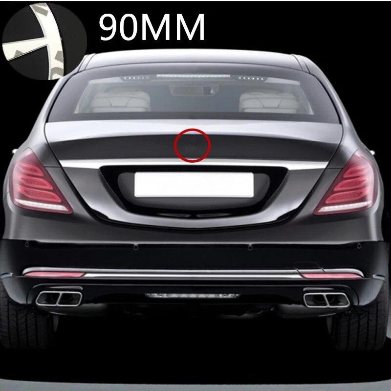 90 мм для автомобилей Mercedes Benz C/E/CLA GLC класс Средний багажник хром Звезда эмблема знак, наклейка на автомобиль глянцевый черный